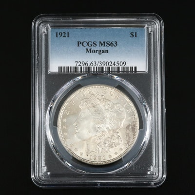 PCGS Graded MS63 1921 Morgan Silver Dollar