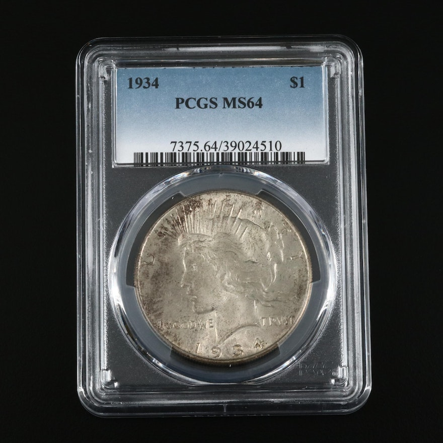 Lower Mintage PCGS Graded MS64 1934 Silver Peace Dollar