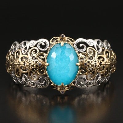 Carolyn Pollack Sterling Quartzite Cuff Bracelet with Brass Scroll Accents