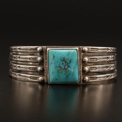 Western Sterling Turquoise Cuff Bracelet