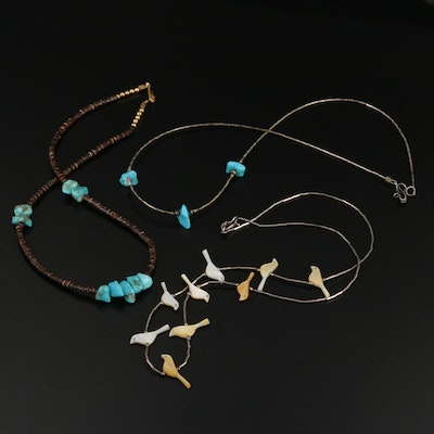 Southwestern Style Necklaces with Bone, Sterling Silver, and Gemstone Accents