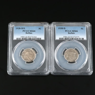 PCGS Graded MS66 1938-D and 1938-D/S Buffalo Nickels