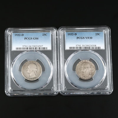 PCGS Graded VF30 and G04 Key Date Low Mintage 1932-D Washington Quarters