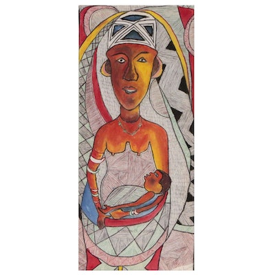 "Kayode Buraimoh Nigerian Acrylic and Ink Drawing ""Passionate Mother"", 2005"
