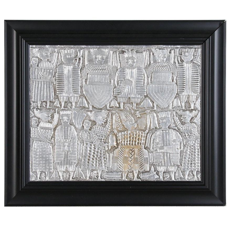 "Toyin Folorunso Hammered Aluminum Relief Folk Art ""Coronation"""