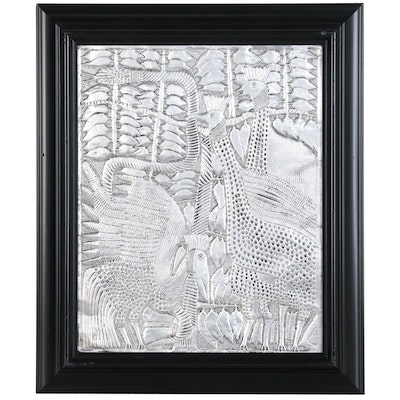 "Toyin Folorunso Hammered Aluminum Relief Folk Art ""Playing Birds"""