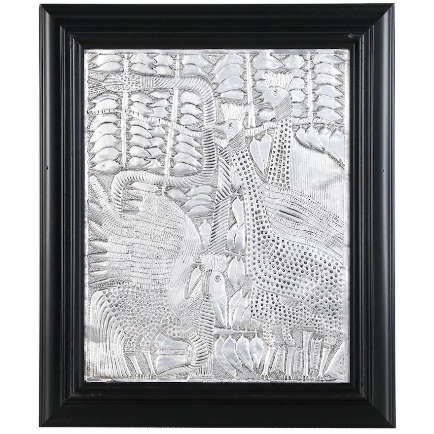 "Toyin Folorunso Hammered Aluminum Relief Folk Art ""Playing Birds"""