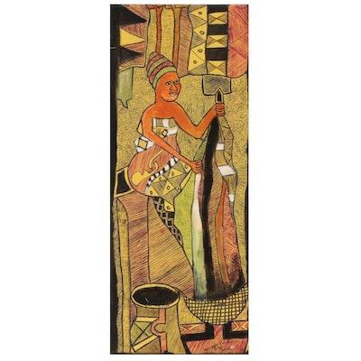 "Kayode Buraimoh Nigerian Acrylic and Ink Drawing ""Indigo Dyer"", 2002"