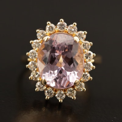 18K 5.05 CT Kunzite and Diamond Ring