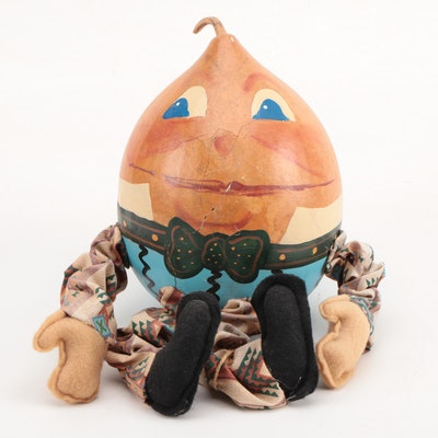 Mike and Sam Kelly Folk Art Humpty Dumpty Gourd