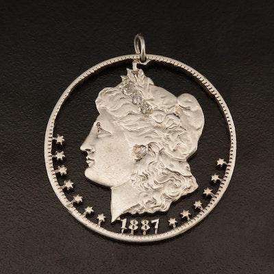 Sterling Diamond Altered 1887-O Morgan Silver Dollar Coin Pendant
