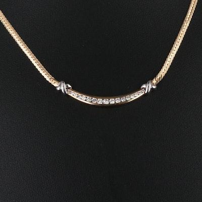 14K Diamond Stationary Necklace