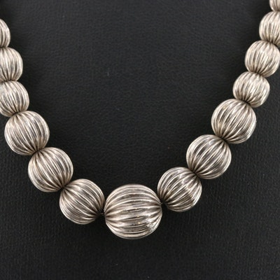 Sterling Silver Graduated Fluted Beaded Necklace