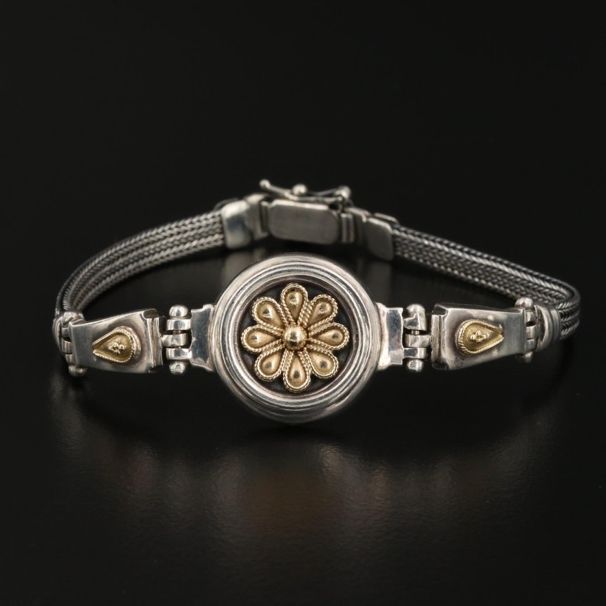 Sterling Silver Flower Bracelet with 14K Accents