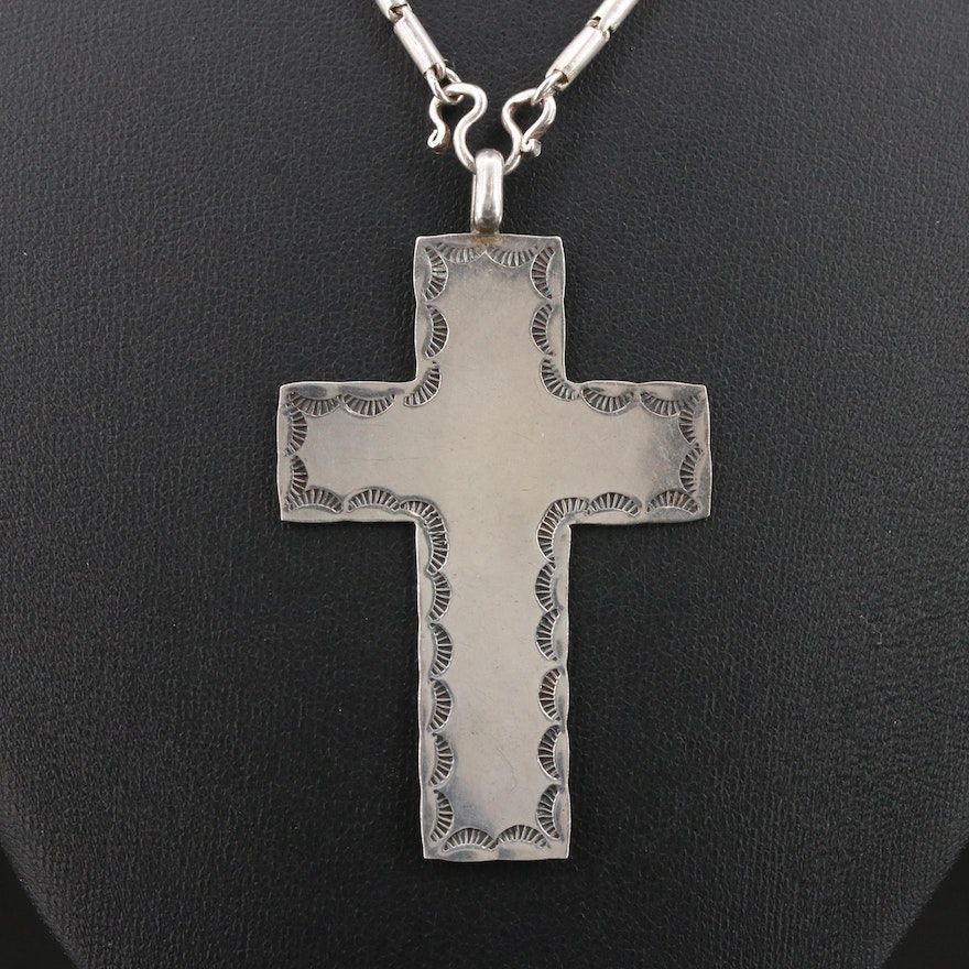 Sterling Silver Stampwork Cross Pendant Necklace
