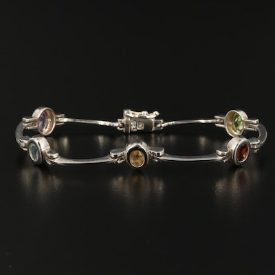 Sterling Silver Station Bracelet with Peridot, Garnet and Citrine