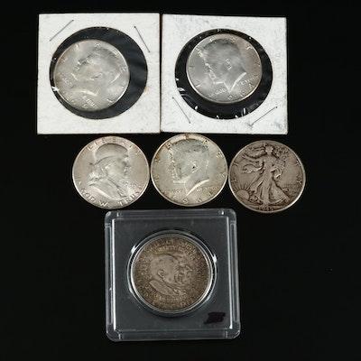 Silver Half Dollars Including a 1949 Full Bell Lines Franklin Half Dollar
