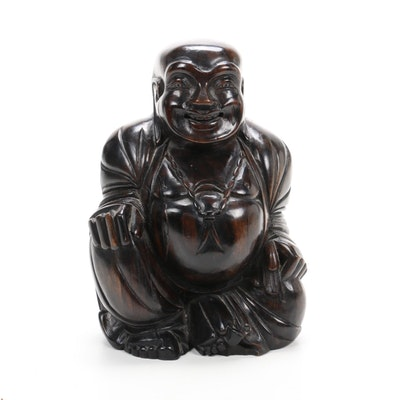 Chinese Carved Hardwood Sculpture of Laughing Budai