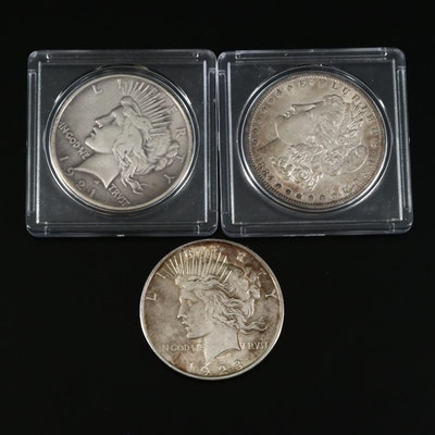 Silver Dollars Including a 1921 High Relief Peace Dollar