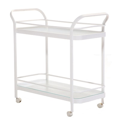 Contemporary Metal and Glass Two-Tier Serving Cart