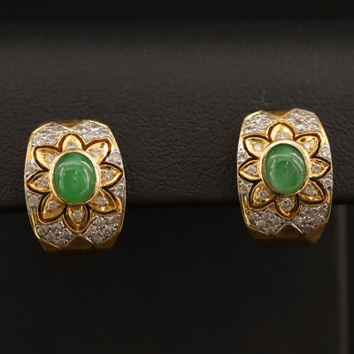 18K Jadeite and Diamond Tapered J Hoop Earrings