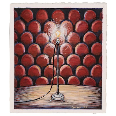 Blair Gibeau Watercolor Painting of Theater Stage with Ghost Light