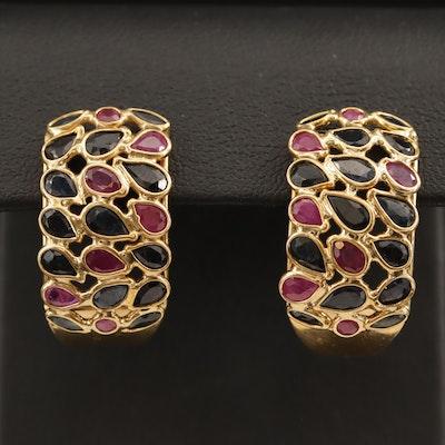 18K Sapphire and Ruby J Hoop Earrings