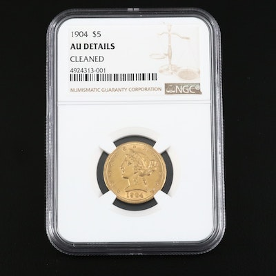 NGC Graded AU Details 1904 Liberty Head $5 Half Eagle Gold Coin