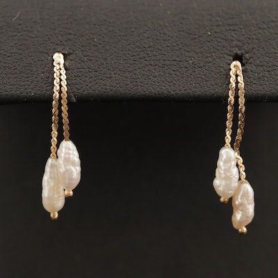 14K Baroque Pearl Drop Earrings