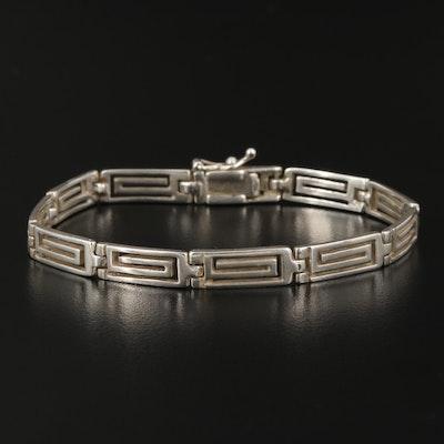 Sterling Silver Swirl Panel Bracelet