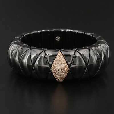 "Roberto Demeglio ""Diva"" Expandable Ceramic Bracelet with 18K and Diamond Accents"