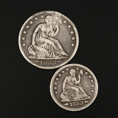 1853 Arrows and Rays Seated Liberty Silver Half Dollar and Quarter