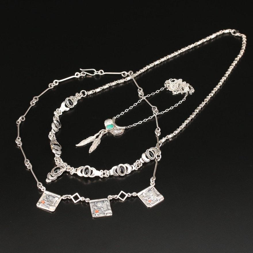 Southwestern Style Black Onyx, Coral, and Malachite Necklaces