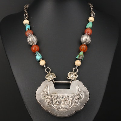 800 Silver Turquoise, Carnelian and Bone Necklace with Repoussé Style Pendant