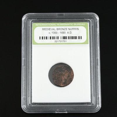Medieval Bronze Nummis Coin, Ca. 1000-1690 AD