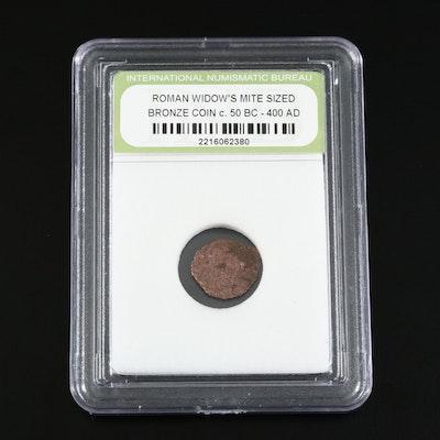 """Ancient Judean Bronze """"Widow's Mite"""" Coins, ca. 50 B.CE - 400 CE"""