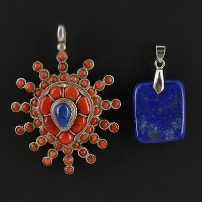 Assorted Pendants Including Sterling Coral and Lapis Lazuli