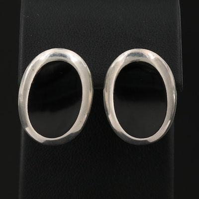 Sterling Silver Black Onyx Inlay Earrings