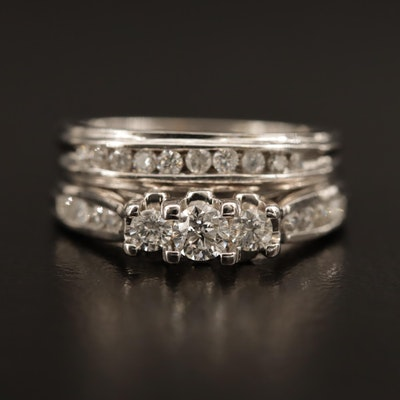 14K Diamond Ring and Channel Band