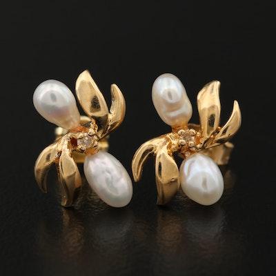14K Baroque Pearl and Diamond Earrings