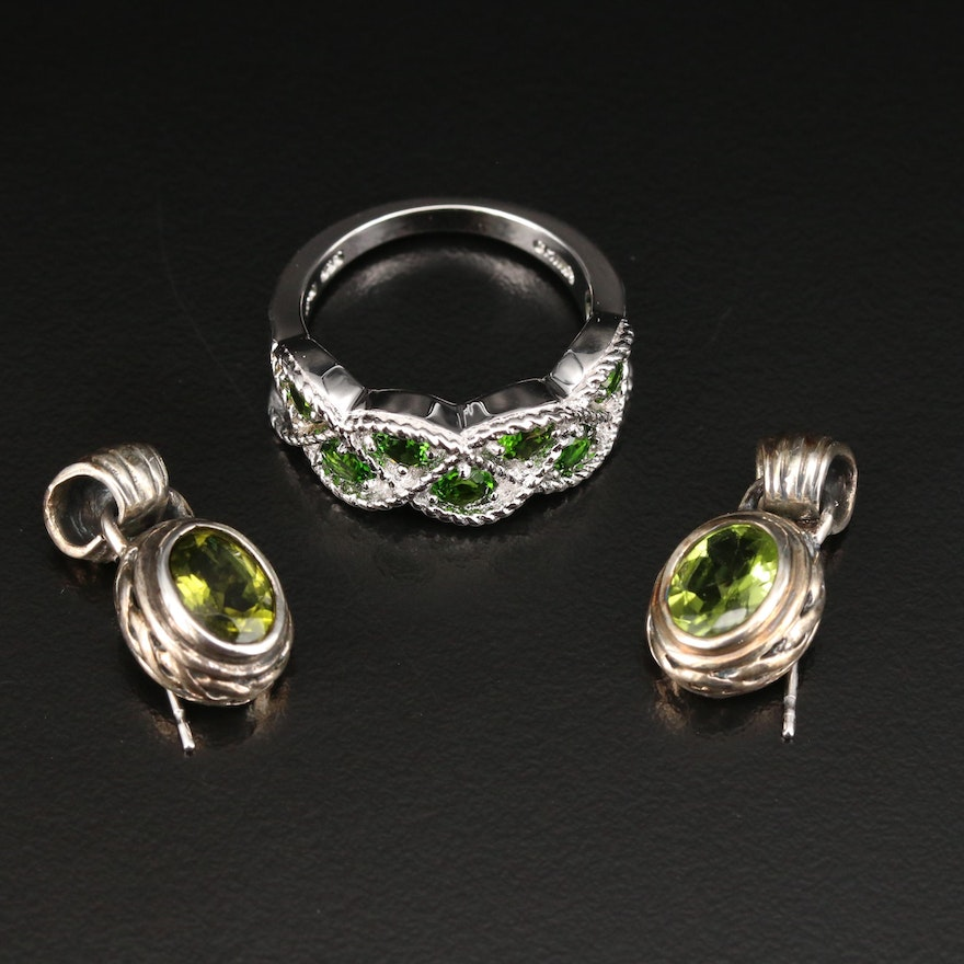Sterling Silver Diopside Ring with Peridot Drop Earrings