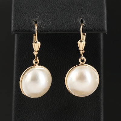 14K Mabé Pearl Dangle Earrings