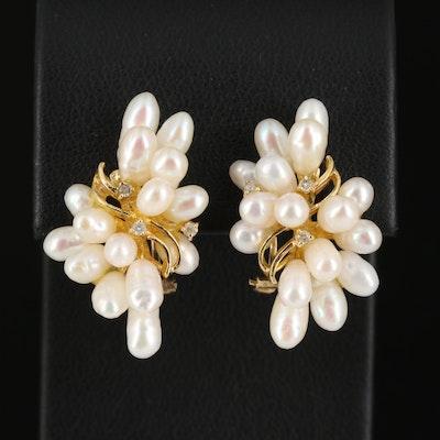 14K Semi-Baroque Pearl and Diamond Cluster Earrings