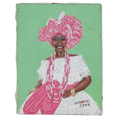 Miniature Acrylic Painting of a Cuban Woman, 2000