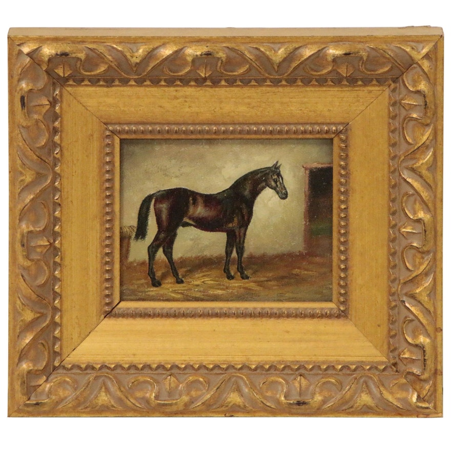 Miniature Oil Painting of Horse, Mid 20th Century