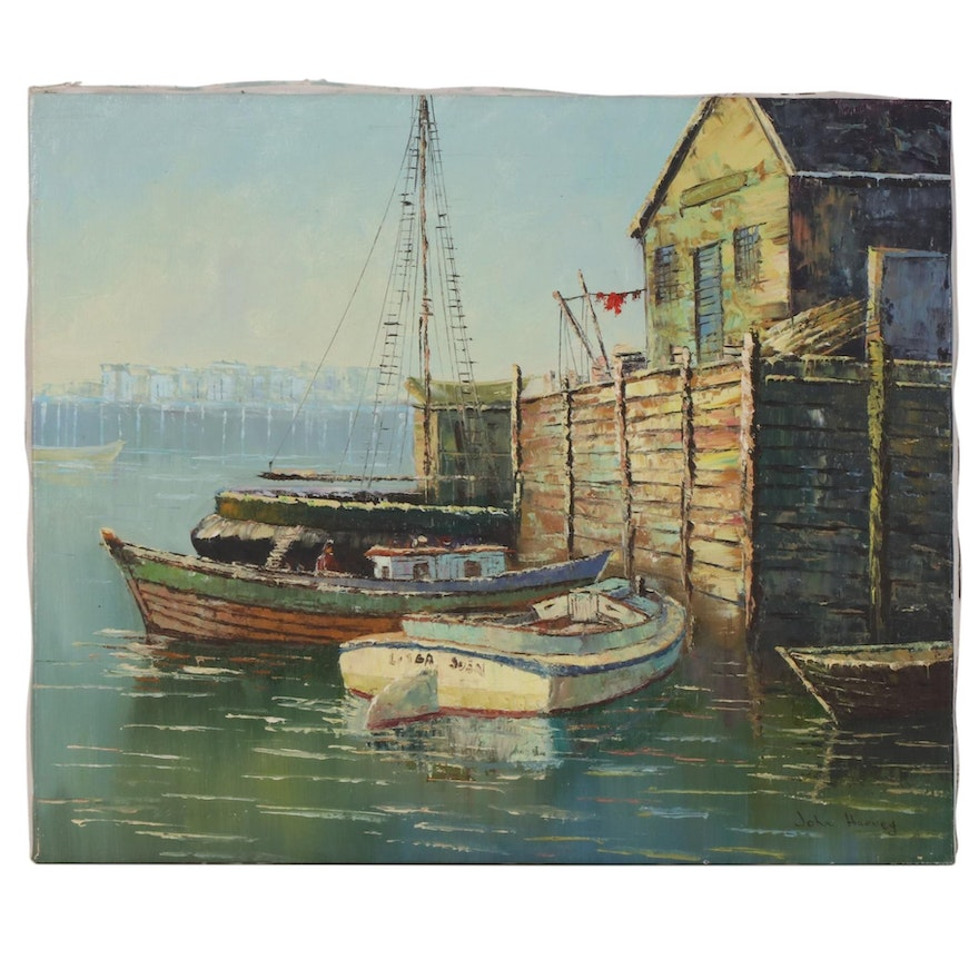 John Harvey Impressionist Style Harbor Scene Oil Painting, Late 20th Century
