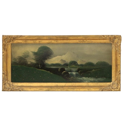 Pastoral Landscape Oil Painting with Waterfall, Late 19th Century
