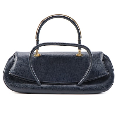 Lily Foldover Handbag in Navy Blue Pebbled Leather, Vintage