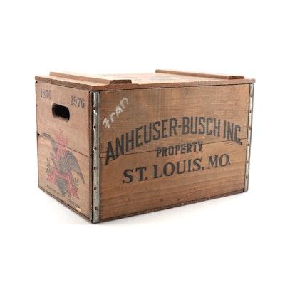 Anheuser-Busch Budweiser Centennial Wooden Bottle Crate, 1976