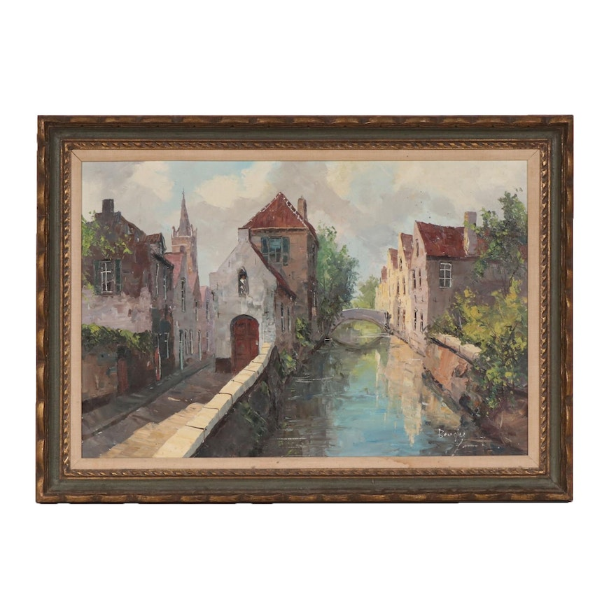 Bruges Canal Landscape Oil Painting, Mid to Late 20th Century